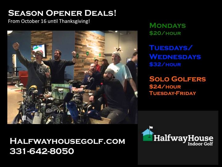 deals for season opener at halfway house indoor golf