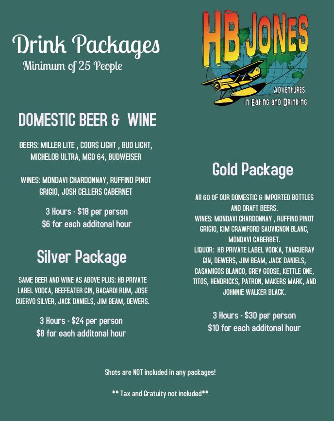 hb jones halfway house golf party menus